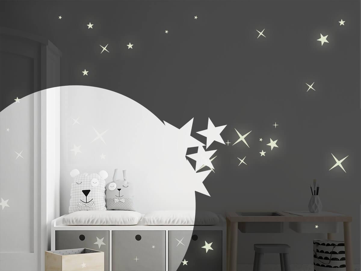 Wandtattoo Leuchtende Sterne Leuchtfolie | Wandtattoos.de