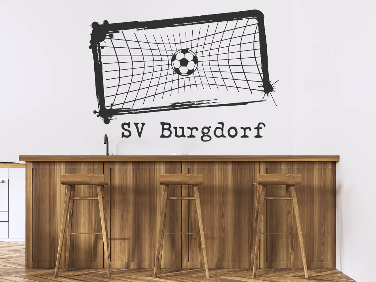 wandtatoo fußball im tor mit name vintage  wandtattoosde