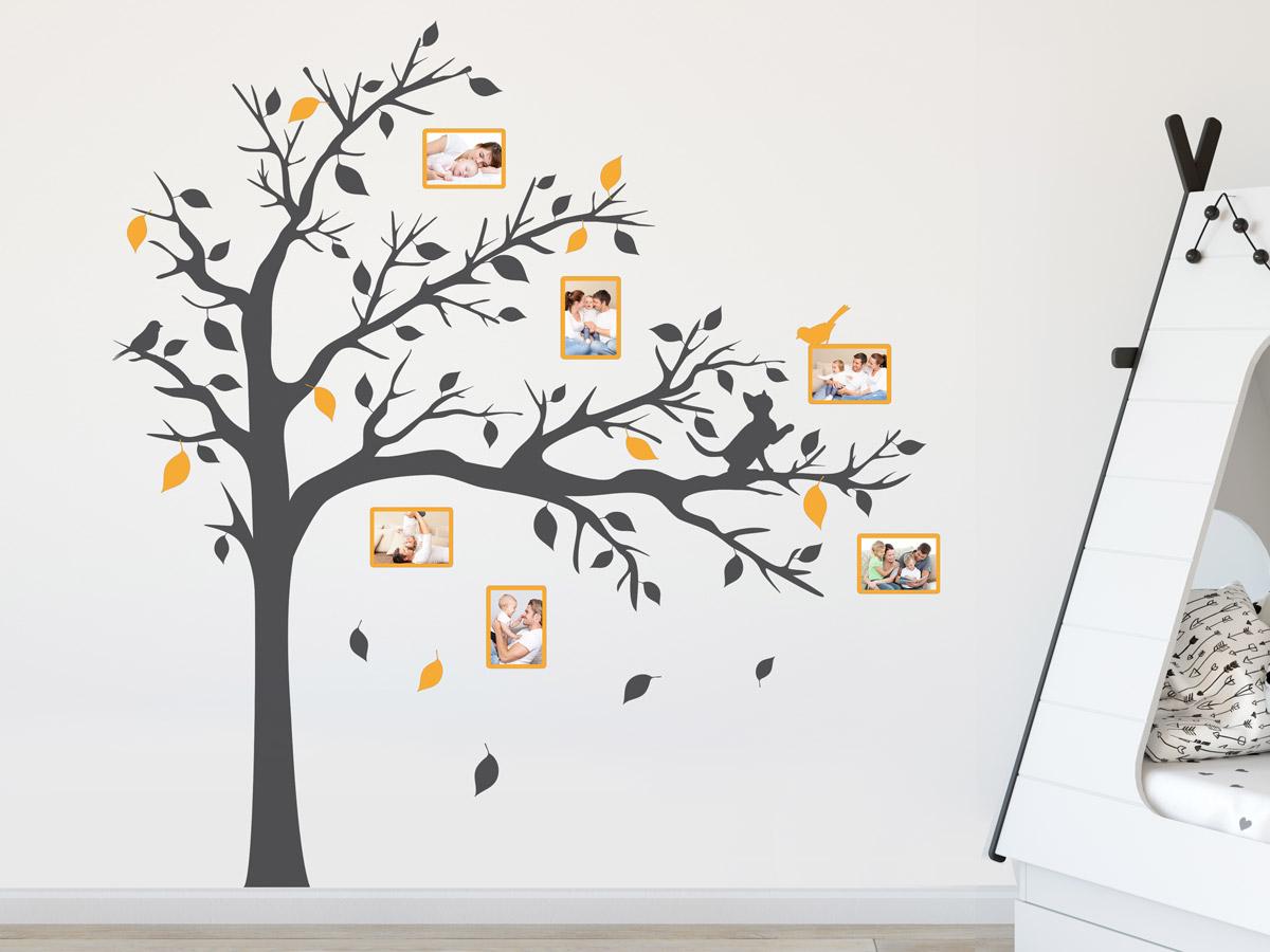 Wandtattoo Fotorahmen Baum mit Katze   Wandtattoos.de