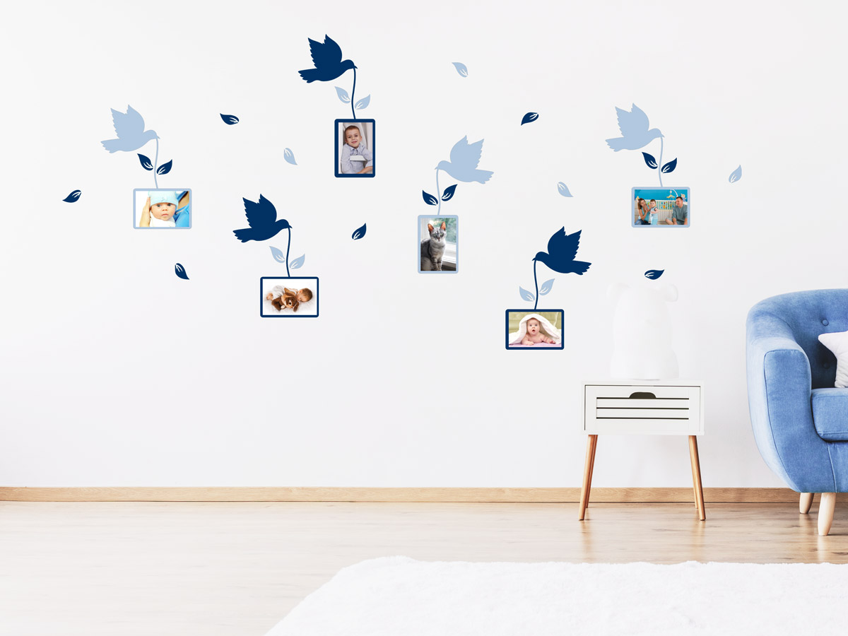 Wandtattoo Vögel mit Fotorahmen - Wandtattoos.de