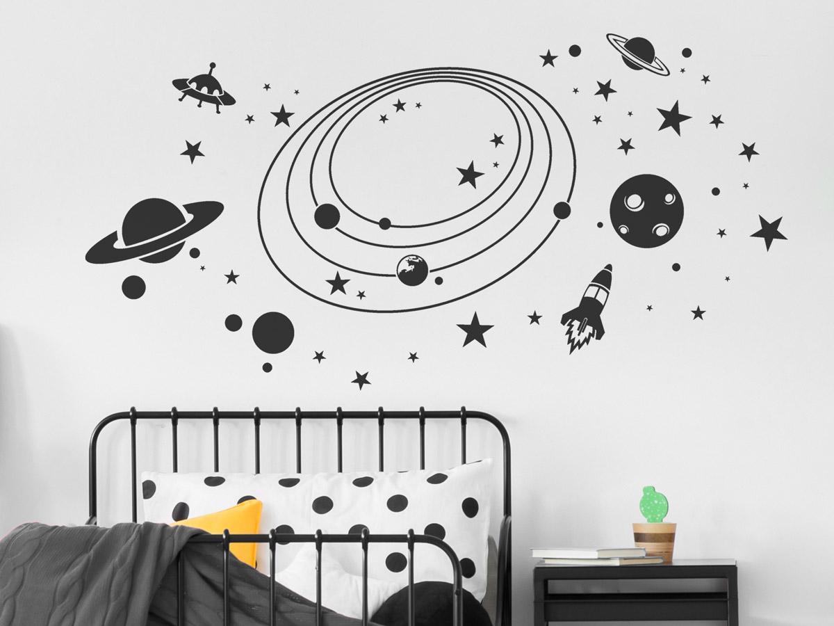 Wandtattoo Weltall mit Sternen, Planeten... | Wandtattoos.de
