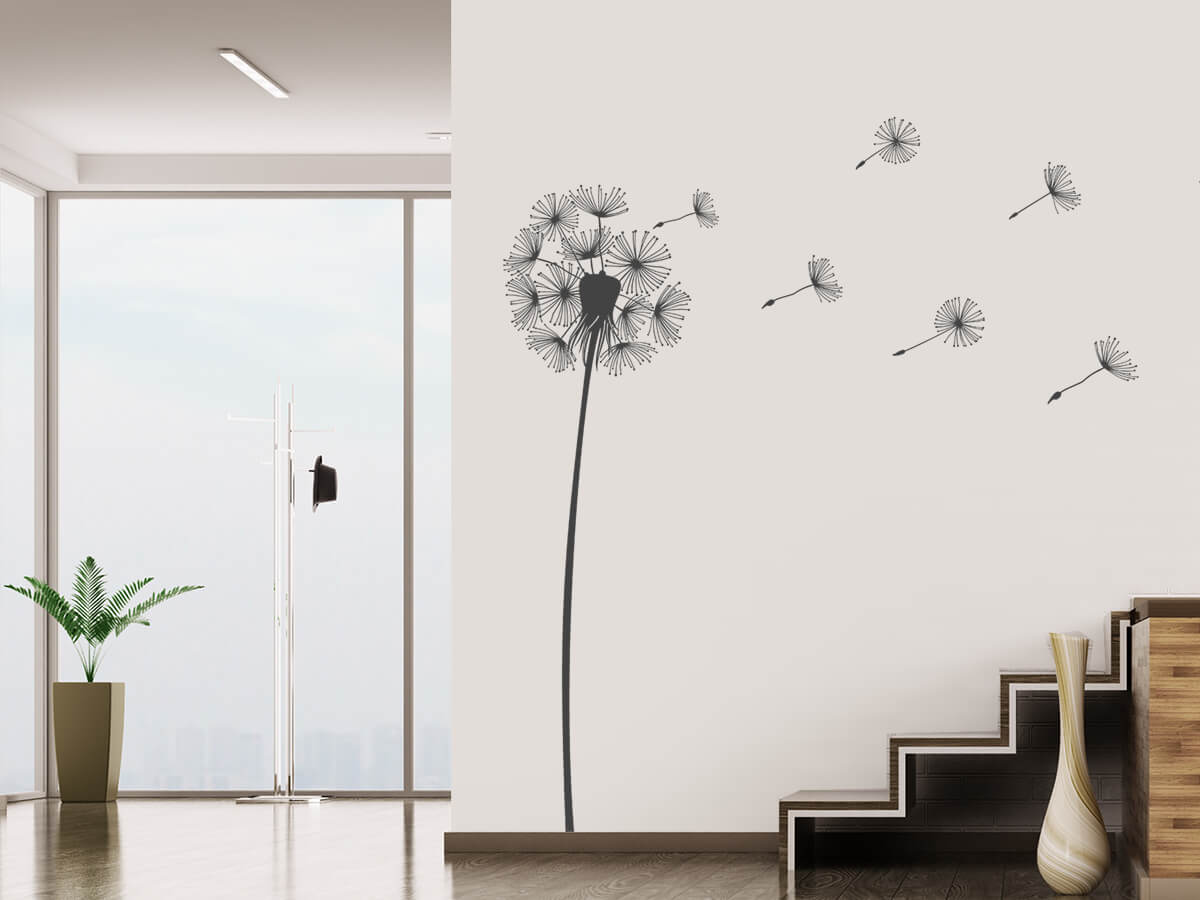 wandtattoo pusteblume im wind fliegende samen. Black Bedroom Furniture Sets. Home Design Ideas
