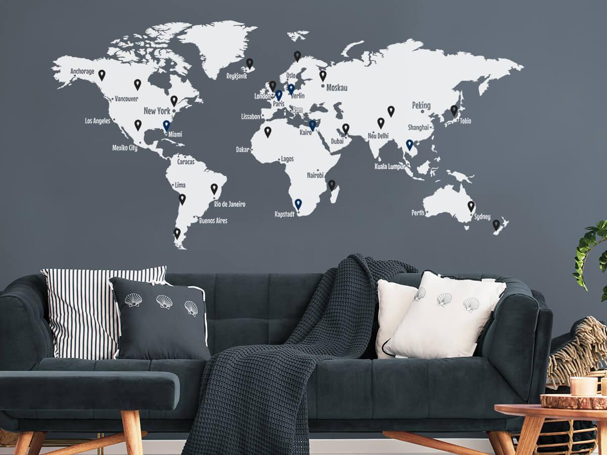 Wandtattoo Weltkarte Mit Pins Und Weltstädten