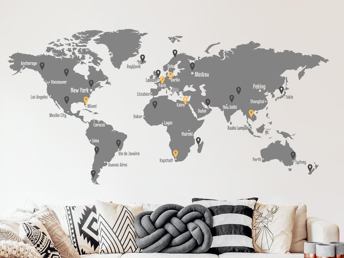 Wandtattoo Weltkarte Mit Pins Und Weltstadten Wandtattoos De