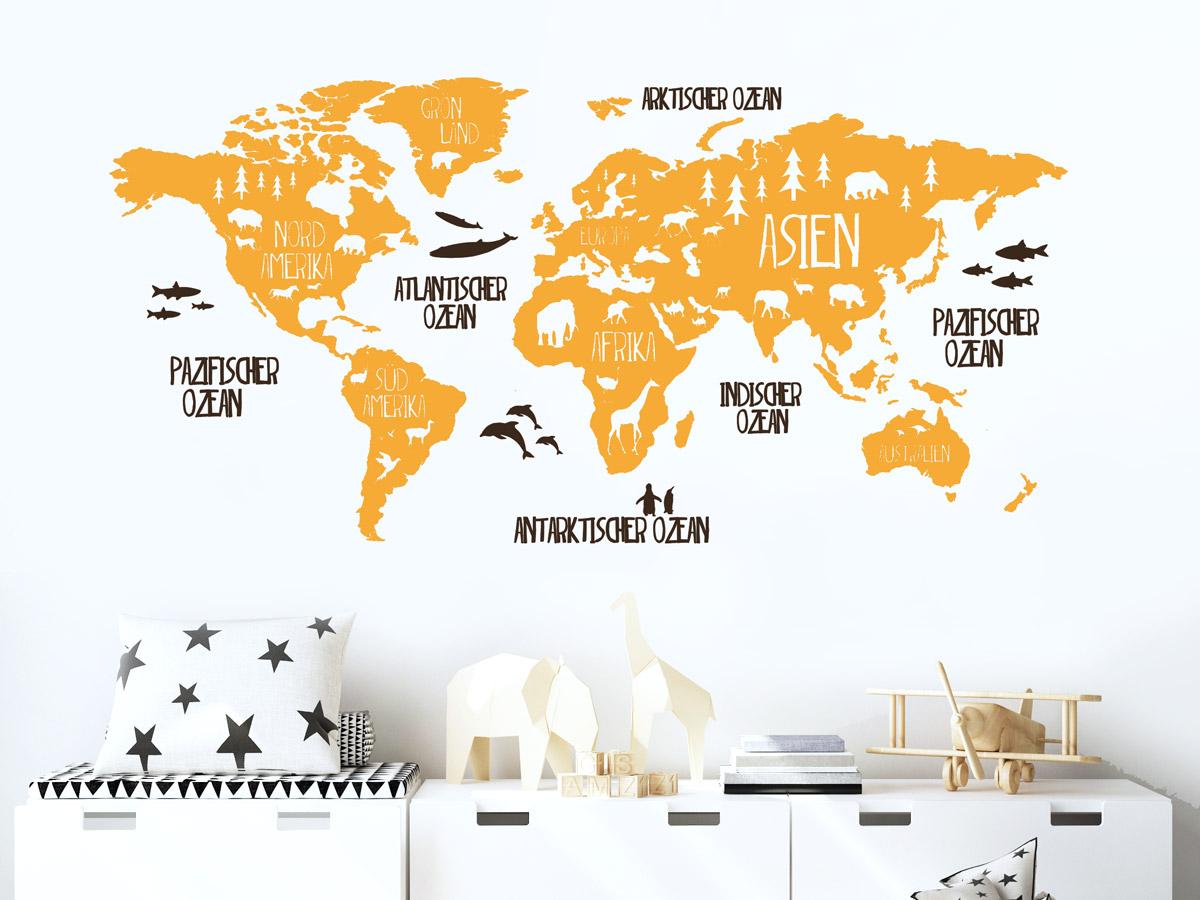 Bild Weltkarte Gold