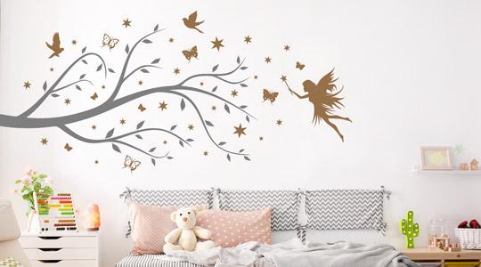 Home Furniture Diy Wall Decals Stickers Mit Wunschnamen Wandtattoo Kinderzimmer Fee 2 Farben Moglich Sterne Bortexgroup Com