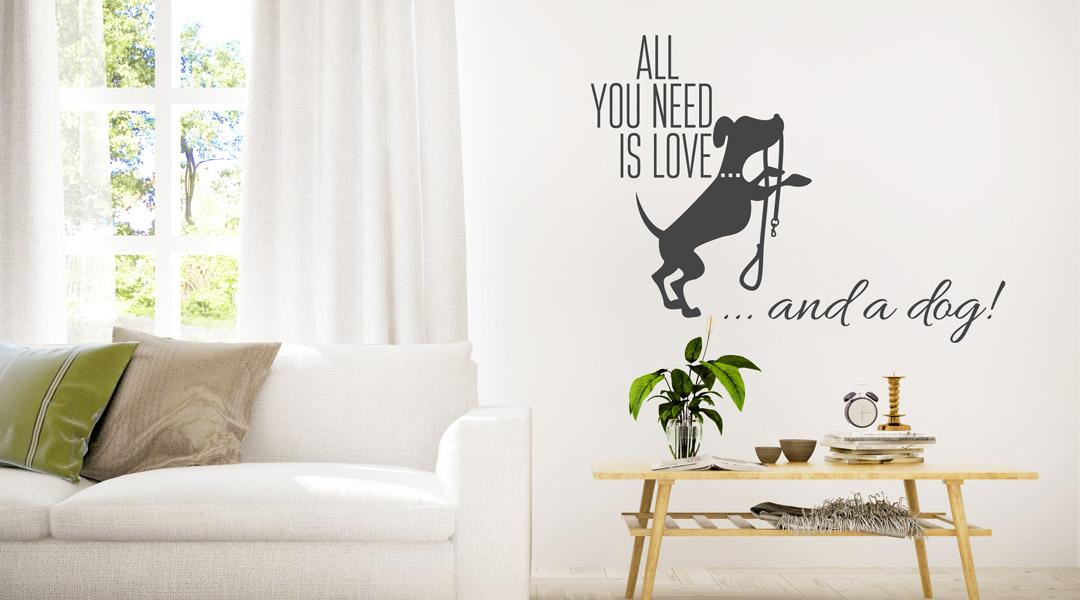 """Wandtattoo Zitat /""""Tiere sind die besten Freunde/"""" Wandzitat Wohnzimmer"""