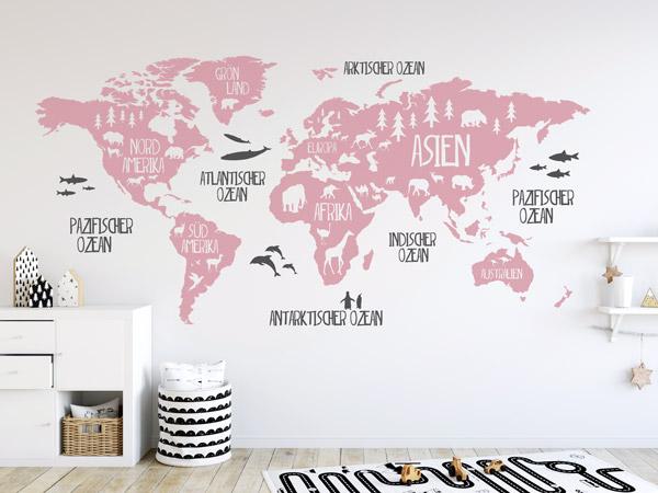 Wandtattoo Weltkarte | große Auswahl | Wandtattoos.de