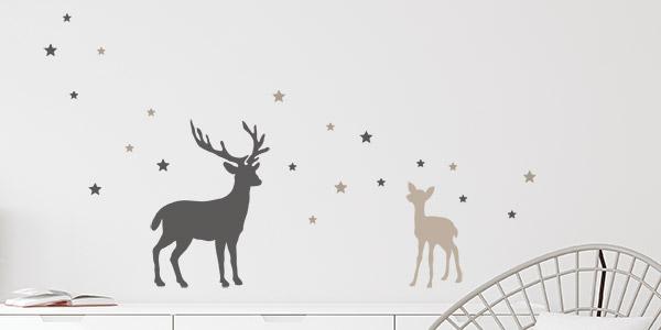 Weihnachts Wandtattoo Hirsch mit Rehkitz alternative Anordnung