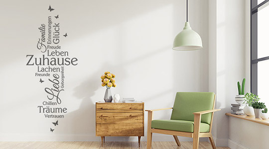wandtattoo worte f r den flur flurgestaltung. Black Bedroom Furniture Sets. Home Design Ideas