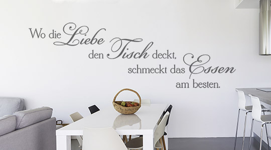 wandtattoo spr che f r die k che essen trinken. Black Bedroom Furniture Sets. Home Design Ideas