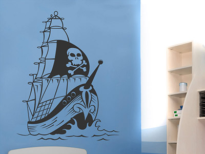 Wandtattoo Piraten Segelschiff