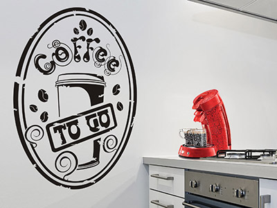 Wandtattoo Button Coffee to go