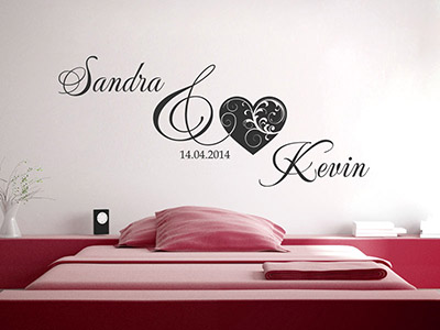 wandtattoos zur hochzeit brautpaar namen mit datum. Black Bedroom Furniture Sets. Home Design Ideas