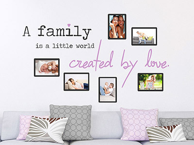 Wandtattoo Fotorahmen A family is created by love