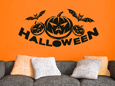 wandtattoo halloween deko spinnen geister k rbis. Black Bedroom Furniture Sets. Home Design Ideas