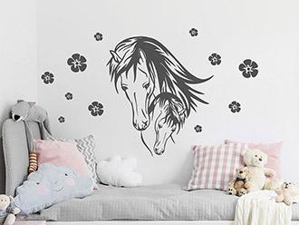 wandtattoo tiermotive f r kinderzimmer pferde ponys. Black Bedroom Furniture Sets. Home Design Ideas