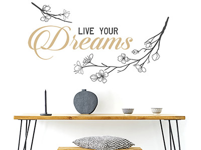 Wandtattoo Live your Dreams mit Ästen
