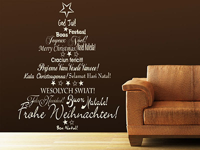 Wandtattoo Internationaler Weihnachtsbaum