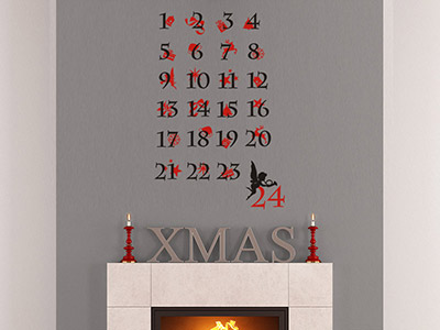 Wandtattoo Adventskalender