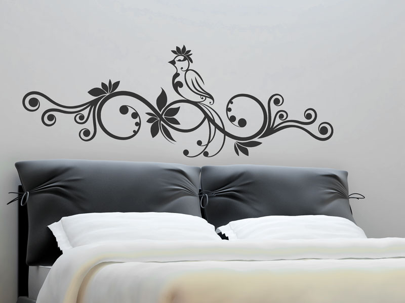 wandtattoo verschn rkeltes ornament mit vogel. Black Bedroom Furniture Sets. Home Design Ideas