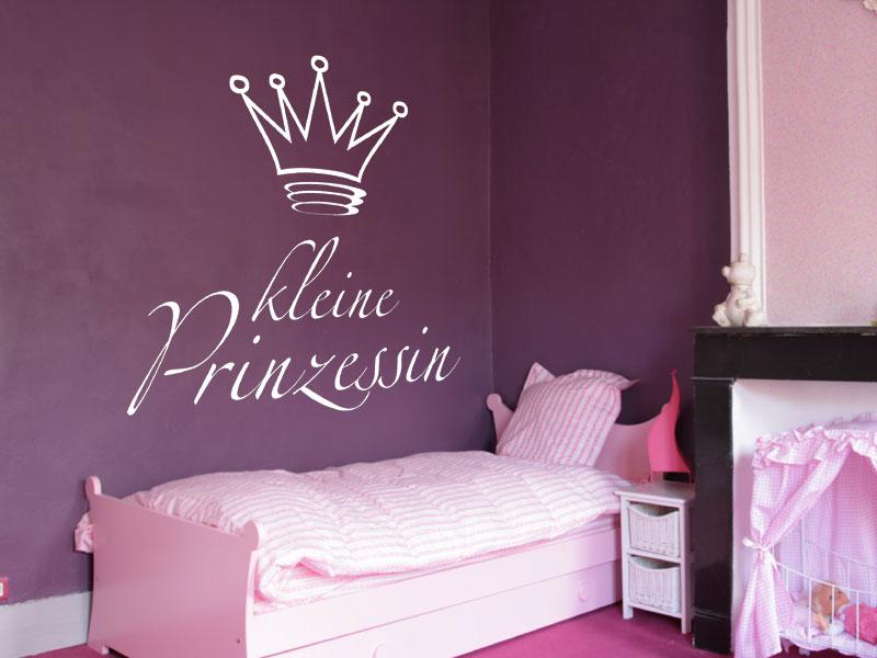 wandtattoo kleine prinzessin schrift mit krone. Black Bedroom Furniture Sets. Home Design Ideas