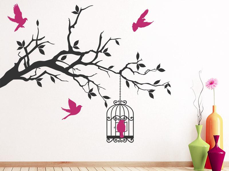 wandtattoo ast mit filigranem vogelk fig. Black Bedroom Furniture Sets. Home Design Ideas
