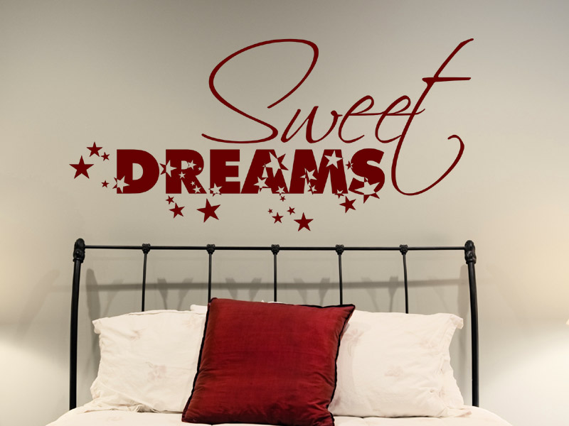 wandtattoo sweet dreams mit sternen. Black Bedroom Furniture Sets. Home Design Ideas