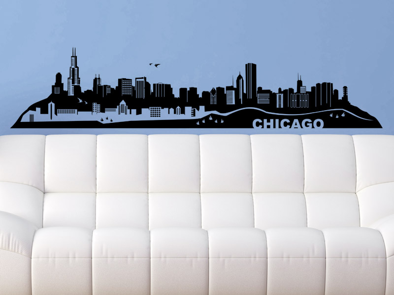 wandtattoo chicago skyline. Black Bedroom Furniture Sets. Home Design Ideas