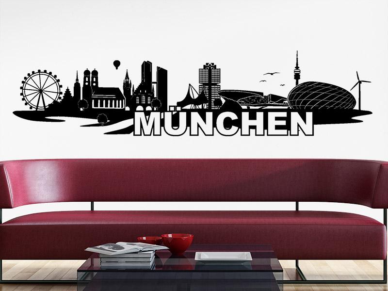 wandtattoo skyline m nchen. Black Bedroom Furniture Sets. Home Design Ideas