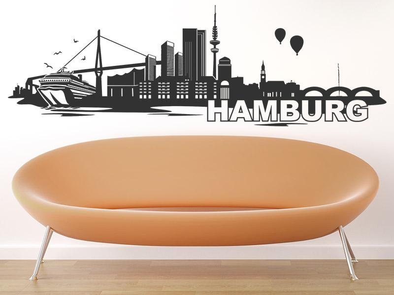wandtatoo skyline hamburg. Black Bedroom Furniture Sets. Home Design Ideas