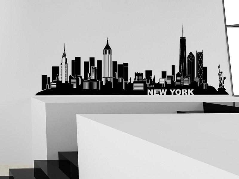 wandtattoo new york skyline silhouette ny. Black Bedroom Furniture Sets. Home Design Ideas