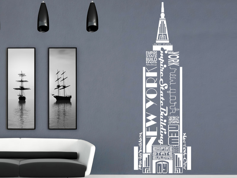 wandtattoo empire state building new york. Black Bedroom Furniture Sets. Home Design Ideas