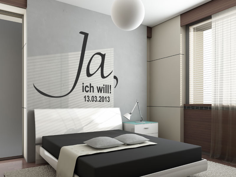 wandtattoo ja mit wunschdatum. Black Bedroom Furniture Sets. Home Design Ideas