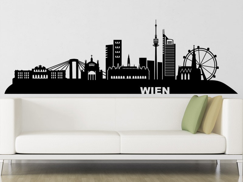 wandtattoo skyline wien hauptstadt sterreich. Black Bedroom Furniture Sets. Home Design Ideas