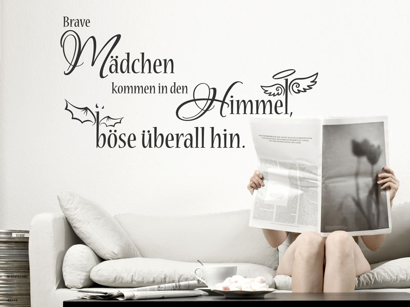wandtattoo brave m dchen kommen in den himmel. Black Bedroom Furniture Sets. Home Design Ideas