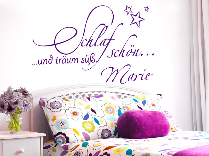 schlaf sch n wandtattoo tr um s bei. Black Bedroom Furniture Sets. Home Design Ideas