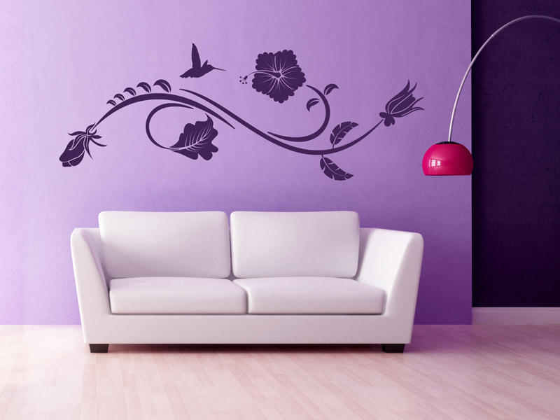 wandtattoo blumenranke hibiskus wandtattoo blumen ranke. Black Bedroom Furniture Sets. Home Design Ideas