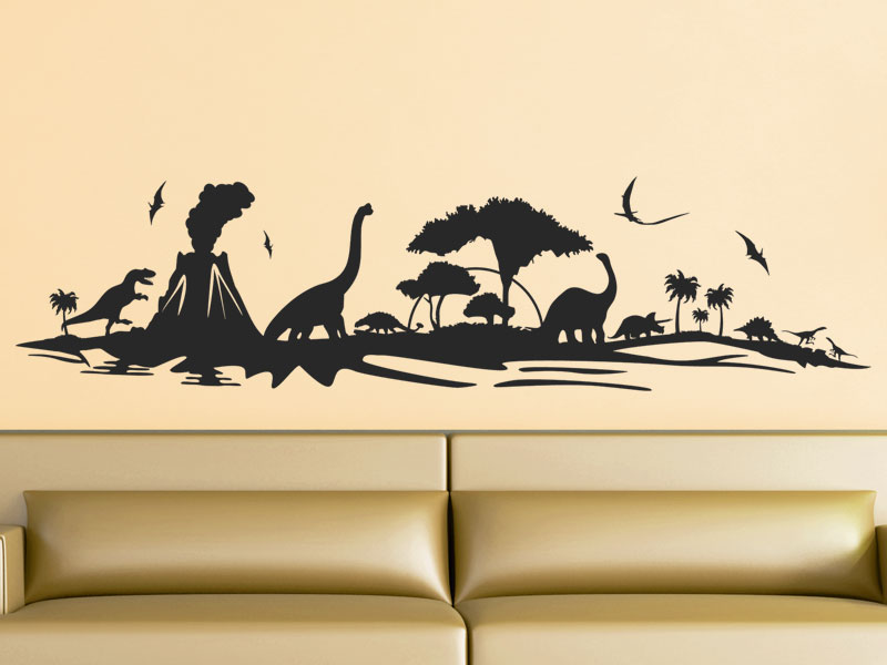 wandtattoo dinosaurier wandtattoo saurier landschaft. Black Bedroom Furniture Sets. Home Design Ideas