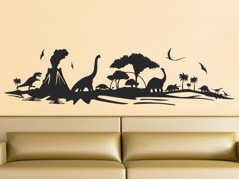 Wandtattoo Dinosaurier Landschaft Als Skyline Wandtattoos De
