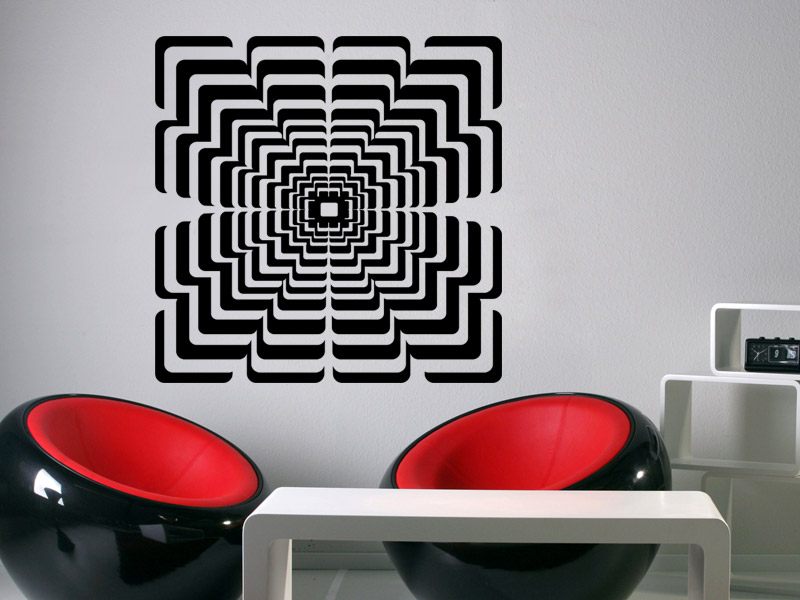 wandtattoo 3d quadrat im retro stil. Black Bedroom Furniture Sets. Home Design Ideas