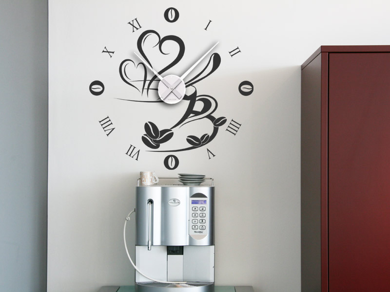 wandtattoo uhr kaffee wanduhr kaffeetasse wandtattoo bei. Black Bedroom Furniture Sets. Home Design Ideas