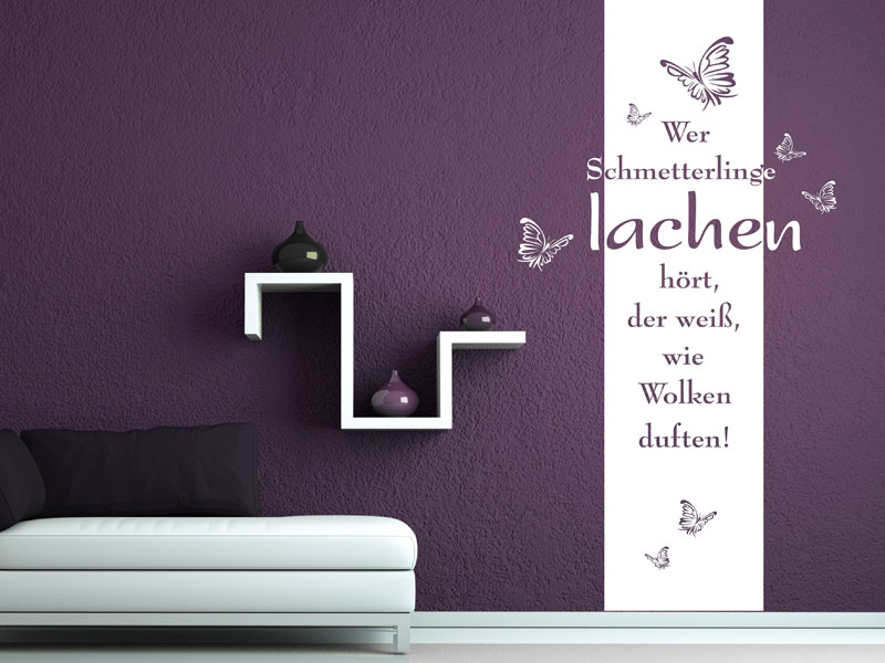 wandbanner wer schmetterlinge lachen wandtattoo. Black Bedroom Furniture Sets. Home Design Ideas