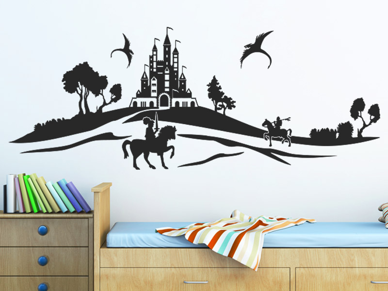 wandtattoo ritter landschaft mit burg. Black Bedroom Furniture Sets. Home Design Ideas