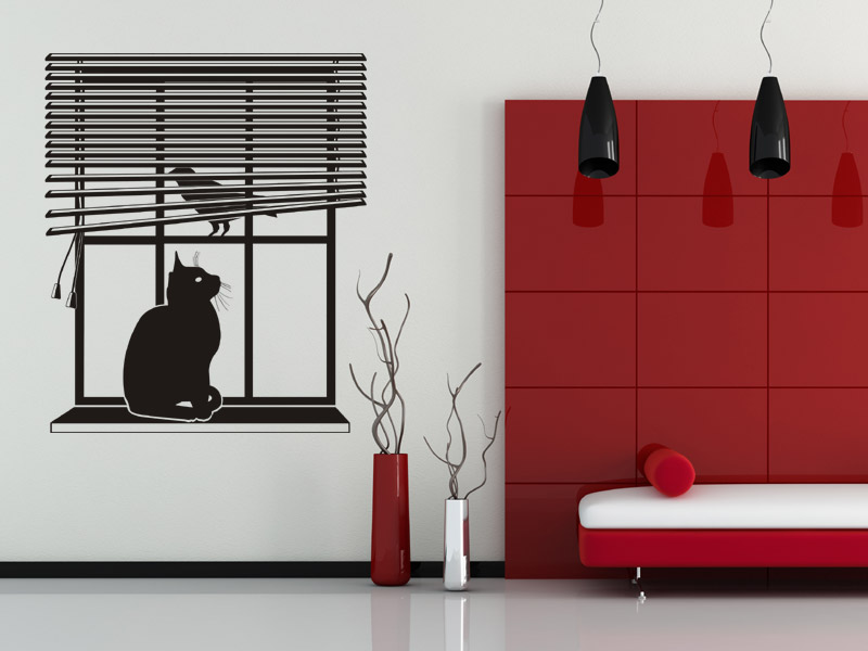 fenster katze vogel wand tattoo fenster mit rollo bei wand. Black Bedroom Furniture Sets. Home Design Ideas