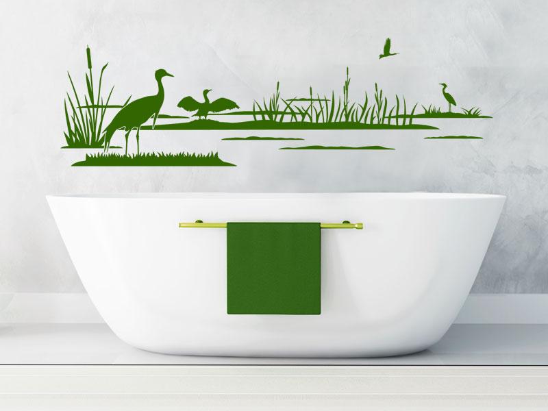 Wandtattoo Vögel Im Schilf Mit Kranichen Wandtattoosde - Wandtattoos fürs badezimmer