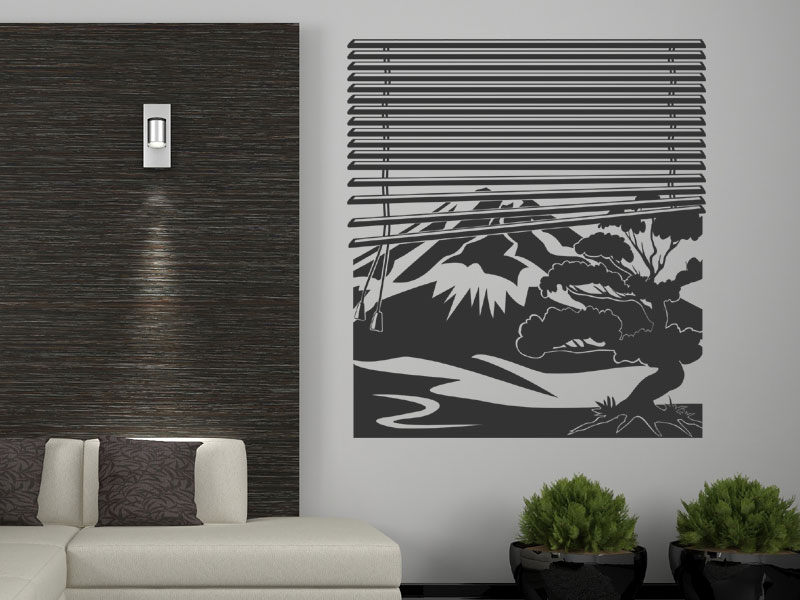 wandtattoo fenster mit jalousien fujiyama. Black Bedroom Furniture Sets. Home Design Ideas