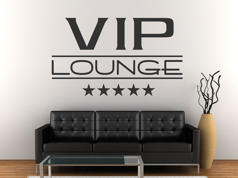 wandtattoo vip lounge schriftzug mit sternen. Black Bedroom Furniture Sets. Home Design Ideas