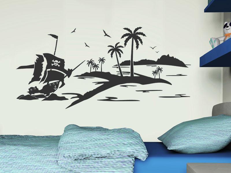 wandtattoo schatzinsel mit piratenschiff. Black Bedroom Furniture Sets. Home Design Ideas