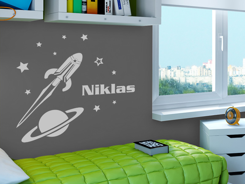 Wandtattooo rakete wandtattoo raketen wandtattoos weltraum for Weltraum kinderzimmer